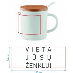 Porcelianinis puodelis su šaukšteliu ir bambukiniu dangteliu